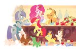 apple_bloom applejack apples apron baking bowl gummy justasuta maud_pie pinkie_pie pound_cake pumpkin_cake winona zap_apples