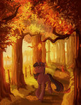 absurdres autumn forest highres jellynut leaves running_of_the_leaves trees twilight_sparkle