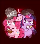 chibi detective hat mackinn7 magnifying_glass pinkie_pie pipe twilight_sparkle