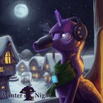 absurdres cup darthagnan headphones highres magic princess_twilight scarf snow snowing twilight_sparkle winter