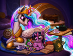 book filly harwick princess_celestia quill scroll spike table tea teacup teapot twilight_sparkle