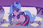 bench princess_luna quill twilight_sparkle volmise