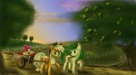 apple_bloom apple_fritter applejack apples ardail cart highres sleeping trees
