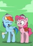 absurdres bandage candylux hat highres laughing mongolian_hat pinkie_pie rainbow_dash saddlebags