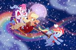 applejack harness nanook123 rainbow rainbow_dash rarity scarf sleigh winter