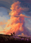 applejack cloud highres plainoasis rainbow_dash scenery