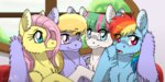 blossomforth cloudkicker fluttershy inuhoshi-to-darkpen rainbow_dash