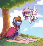 celebi-yoshi flowers flying highres original_character picnic_basket teacup tree