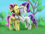 fluttershy grass highres hugs odooee rarity tree