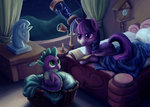 bed book candle highres spike teenageteem telescope twilight_sparkle