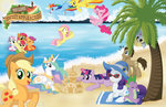 apple_bloom applejack beach cutie_mark_crusaders derpy_hooves fluttershy glasses hat highres logo main_six pinkie_pie princess_celestia princess_twilight rainbow_dash rarity sand_castle scootaloo sonicgirl21 spike spitfire sunglasses sweetie_belle swimming time_turner twilight_sparkle zap_apples
