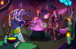 book candle cauldron earthsong9405 glasses highres magic original_character potion witch zecora