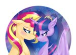 highres kikirdcz princess_twilight shipping sunlight sunset_shimmer twilight_sparkle