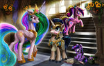 armor book canterlot filly flowers guard_pony harwick highres princess_cadance princess_celestia scroll shining_armor spike steps twilight_sparkle