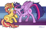 kiss princess_twilight serge_stiles shipping sunlight sunset_shimmer twilight_sparkle