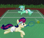 ball lyra_heartstrings mcsadat pants rain sweetie_drops tennis tennis_ball tennis_net tennis_racquet