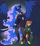 anthro big highres mustlovefrogs princess_luna sunset_shimmer sword weapon
