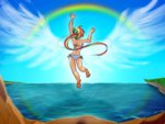 cliff flying humanized jumping rainbow_dash satrathai swimsuit