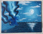 deadliestvenom moon nighttime princess_luna reflection traditional_art water