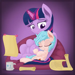 absurdres cozy_glow highres magic mug princess_twilight scroll sleeping twilight_sparkle vectorvito