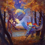 absurdres autumn derpy_hooves forest highres leaves natanatfan rainbow_dash trees