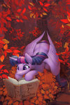 absurdres autumn book highres leaves princess_twilight trees twilight_sparkle viwrastupr