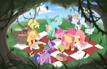 angel applejack apples fluttershy gummy hat main_six mousu opalescence owlowiscious picnic pinkie_pie rainbow_dash rarity spike tank twilight_sparkle winona