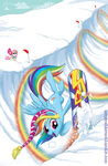 amy_mebberson coat fluttershy hat rainbow rainbow_dash sick_nasty snow snowboard winter