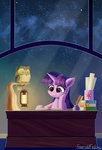 book emeraldgalaxy highres lantern nighttime owlowiscious quill reading stars twilight_sparkle