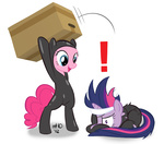 bandage bandana burglar cardboard_box catsuit empty-10 eyepatch future_twilight metal_gear_solid pinkie_pie twilight_sparkle