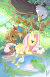 alligator bird deer duck fluttershy frog pond rabbit skimlines squirrel tree