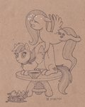 cat fluttershy gor1ck highres rainbow_dash species_swap table traditional_art