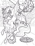 absurdres draconequus foldawaywings highres princess_celestia species_swap traditional_art twilight_sparkle