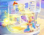 background_ponies balcony book highres lectern magic philomena princess_celestia viwrastupr