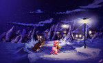 basket cart fluttershy freeedon highres nighttime snow stars