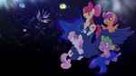 apple_bloom cutie_mark_crusaders fireworks new_year's princess_luna raininess scootaloo spike sweetie_belle