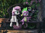 bench bubble bubble_pipe flowers garden highres jotun22 pipe sitting spike sweetie_belle