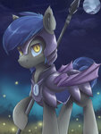 absurdres ardail armor guard_pony highres moon nighttime spear weapon
