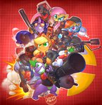 0r0ch1 angel applejack cap carrot demoman dog_tag earring engineer flamethrower flaregun fluttershy glasses gun hat heavy helmet highres mad_milk main_six medic minigun pinkie_pie pyro rainbow_dash rarity rocket_launcher scout sentry_gun sniper soldier spike spy team_fortress_2 twilight_sparkle weapon zecora