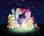 applejack book fluttershy highres lantern main_six nighttime pinkie_pie rainbow_dash rarity rocket-lawnchair stars twilight_sparkle