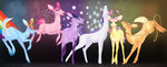 absurdres applejack butterfly confetti deer fluttershy highres main_six pinkie_pie rainbow_dash rarity rope shadowwolf species_swap twilight_sparkle