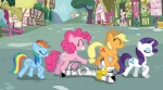 abbey_road album_cover applejack mixed_resolution pinkie_pie pun rainbow_dash rarity synthorange the_beatles zecora