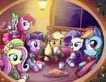 applejack coffee cookie fluttershy hat i_shall_not_use_my_hooves_as_hands jacket madmax main_six pinkie_pie rainbow_dash rarity scarf spike sweater twilight_sparkle