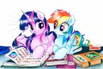 absurdres book highres liaaqila princess_twilight rainbow_dash traditional_art twilight_sparkle