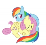 fluttershy hugs naroclie rainbow_dash sleeping