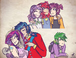 apple_bloom cutie_mark_crusaders highres humanized kikirdcz princess_cadance scootaloo shining_armor spike sweetie_belle