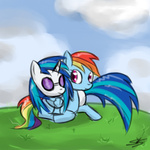 hugs rainbow_dash speccysy vinyl_scratch