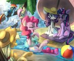 applejack ball beach bird bread-crumbz fluttershy glasses hat main_six pinkie_pie princess_twilight rainbow_dash rarity sunglasses twilight_sparkle umbrella