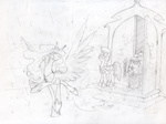 dancing guard_pony jackjacko-eponymous magic original_character princess_celestia quill rain scroll sketch