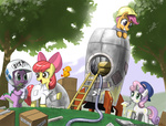 apple_bloom astronaut cardboard_box cutie_mark_crusaders hat helmet johnjoseco labcoat paint paint_brush peewee rocket scootaloo spike sweetie_belle wrench